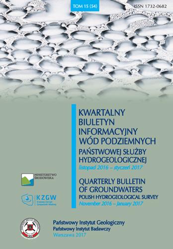 Kwartalny Biuletyn Informacyjny Wód Podziemnych TOM 15(54) listopad 2016 - styczeń 2017
