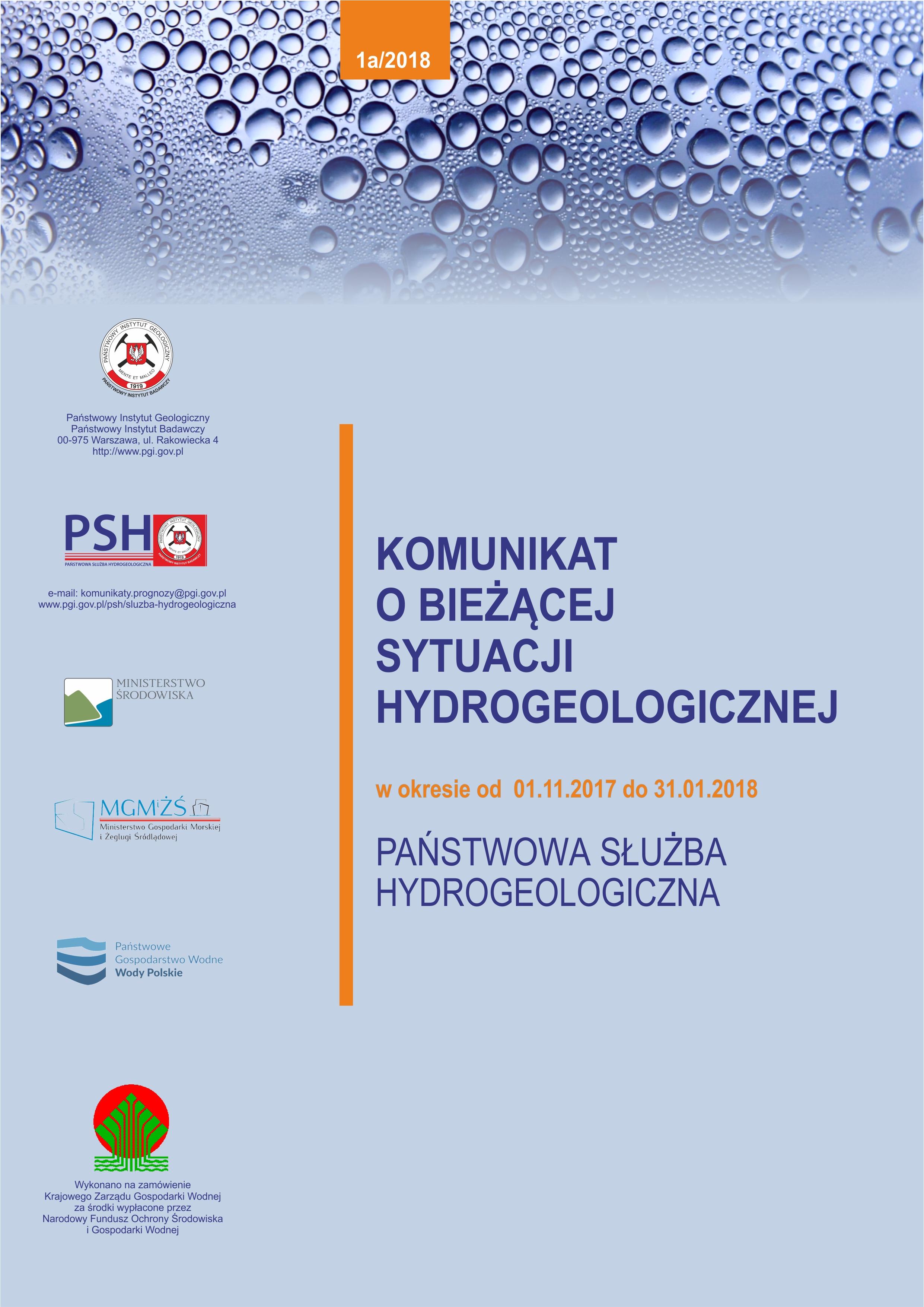 Komunikat o bieżącej sytuacji hydrogeologicznej w okresie 01.11.2017 - 31.01.2018