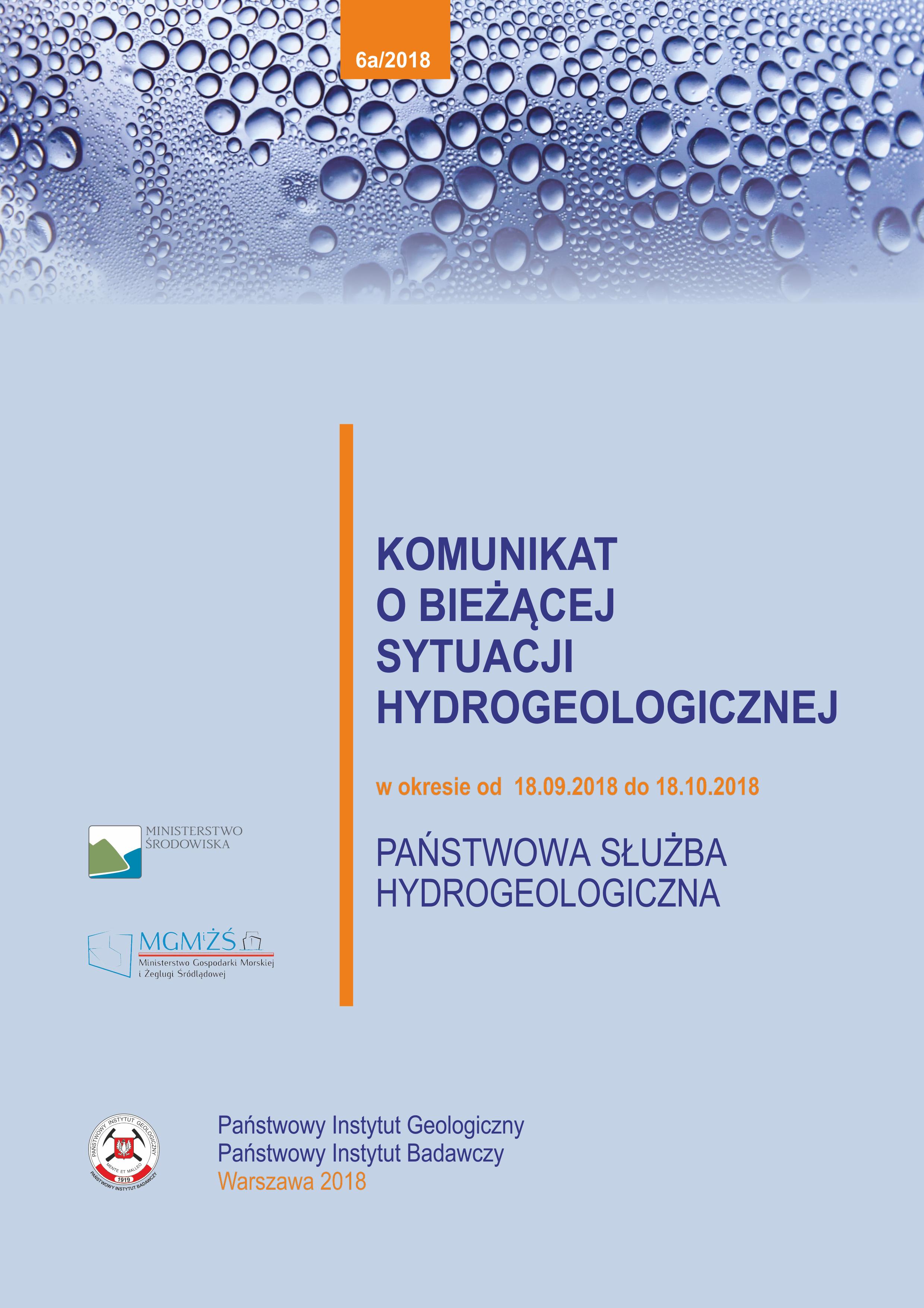 Komunikat o bieżącej sytuacji hydrogeologicznej w okresie 18.09.2018 - 18.10.2018