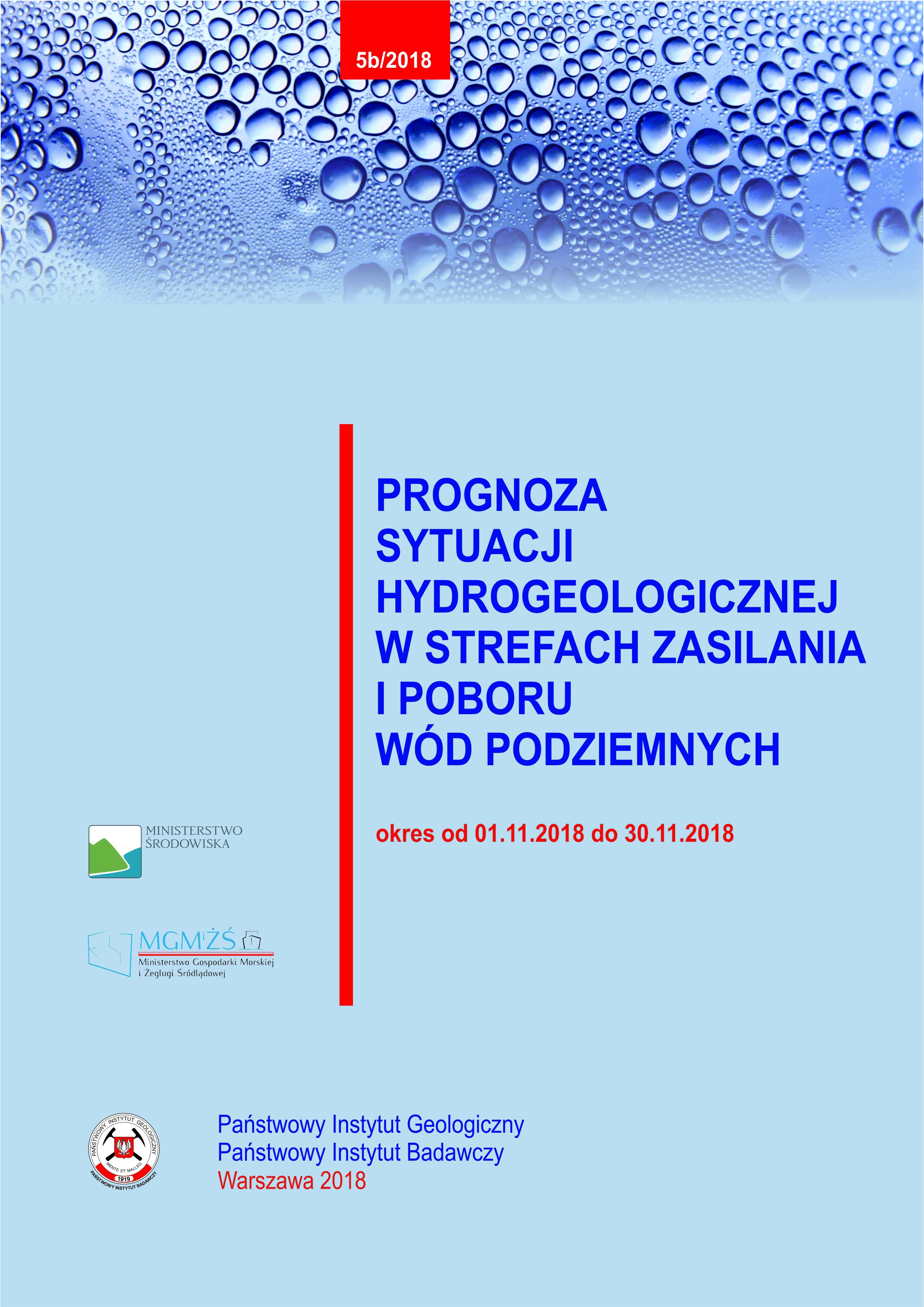 Prognoza sytuacji hydrogeologicznej w strefach zasilania i poboru wód podziemnych 01.11.2018- 30.11.2018