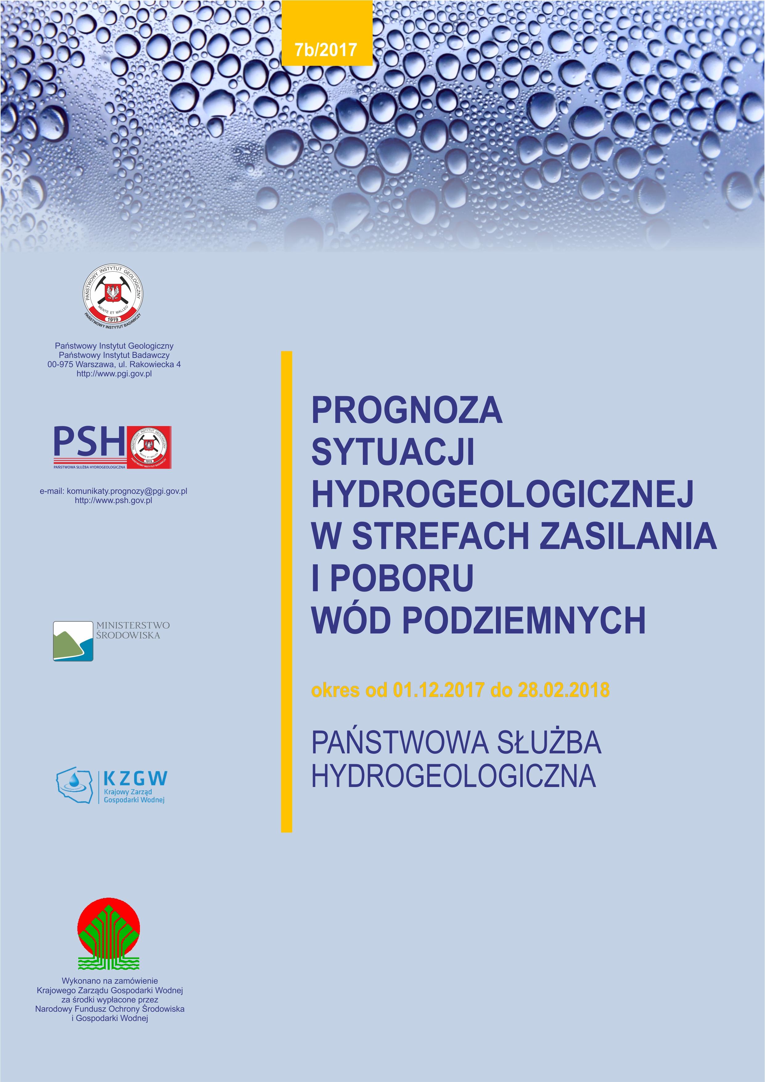 Prognoza sytuacji hydrogeologicznej w strefach zasilania i poboru wód podziemnych 01.12.2017- 28.02.2018