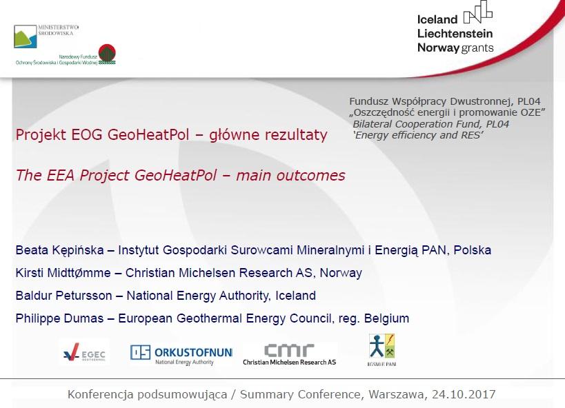 """Prezentacja z konferencji zamykającej projekt: """"Projekt EOG GeoHeatPol – główne rezultaty"""""""