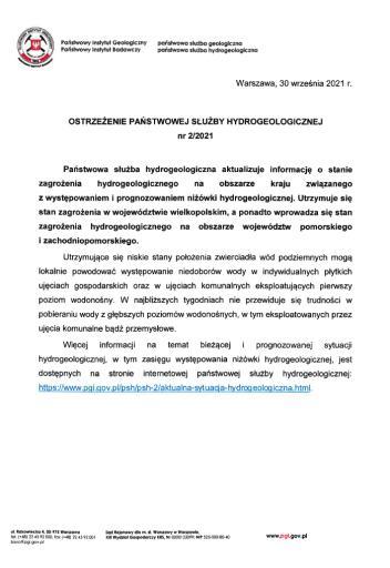 Ostrzeżenie PSH nr 2/2021 dotyczące sytuacji hydrogeologicznej w kraju