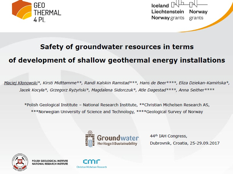 Prezentacja: Safety of groundwater resources in terms of development of shallow geothermal energy installations