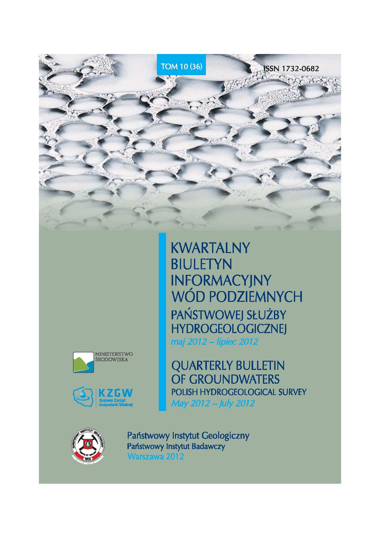 Kwartalny Biuletyn Informacyjny Wód Podziemnych TOM 10(36) maj - lipiec 2012