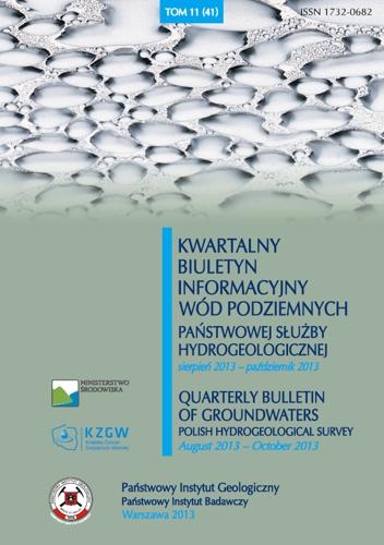 Kwartalny Biuletyn Informacyjny Wód Podziemnych TOM 11(41) sierpień - październik 2013