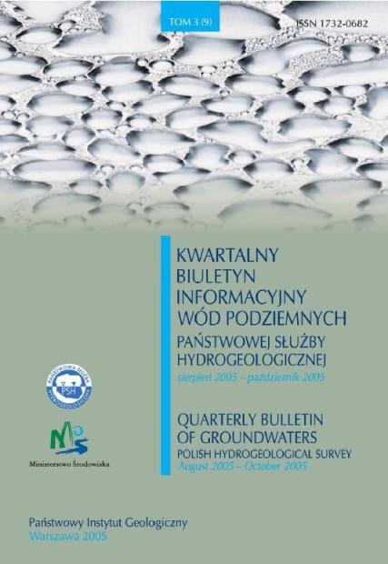 Kwartalny Biuletyn Informacyjny Wód Podziemnych TOM 3(9) sierpień - październik 2005