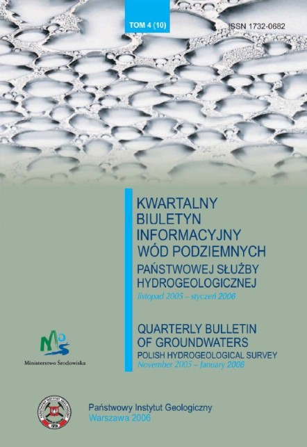 Kwartalny Biuletyn Informacyjny Wód Podziemnych TOM 4(10) listopad 2005 - styczeń 2006
