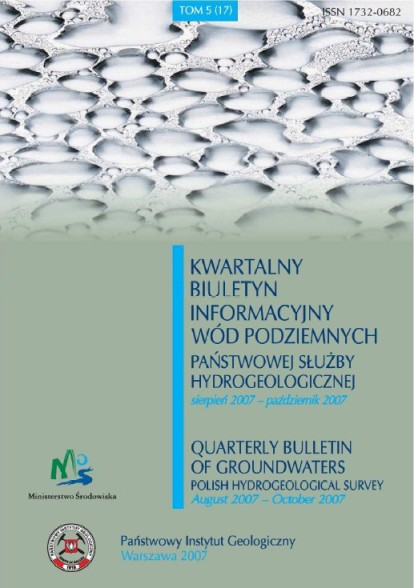Kwartalny Biuletyn Informacyjny Wód Podziemnych TOM 5(17) sierpień - październik 2007