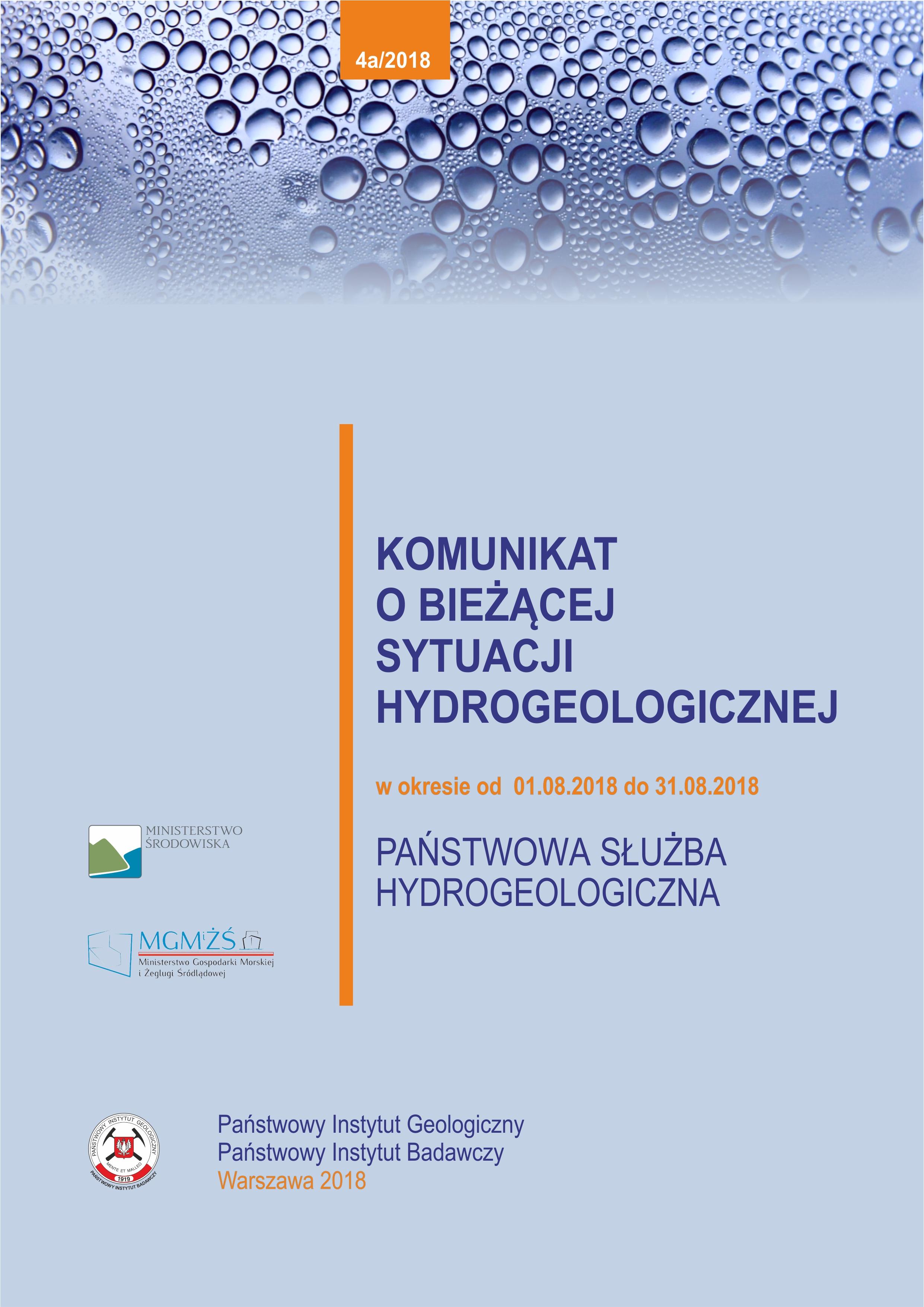 Komunikat o bieżącej sytuacji hydrogeologicznej w okresie 01.08.2018 - 31.08.2018
