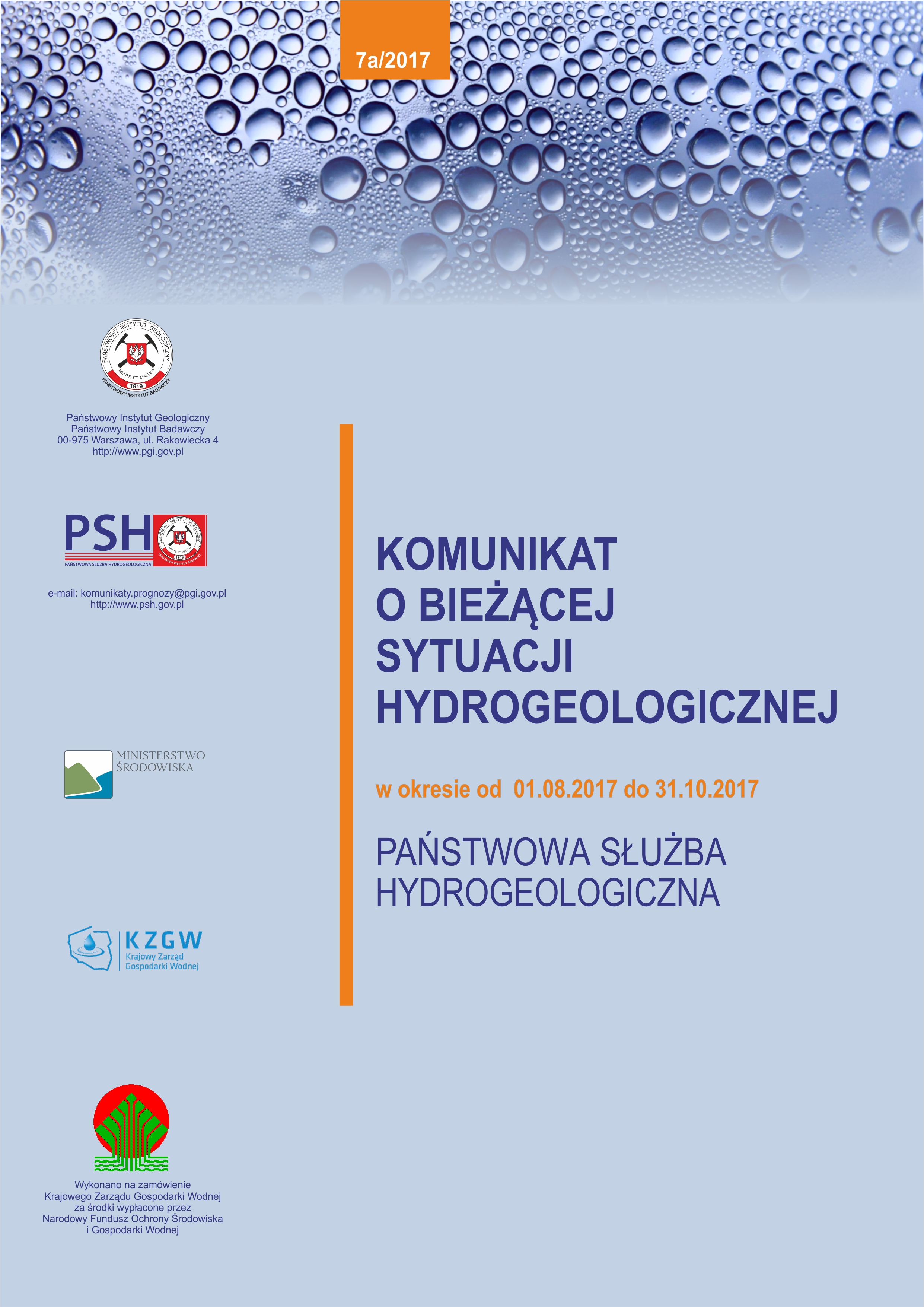 Komunikat o bieżącej sytuacji hydrogeologicznej w okresie 01.08.2017 - 31.10.2017