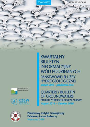 Kwartalny Biuletyn Informacyjny Wód Podziemnych TOM 14(53) sierpień - październik 2016