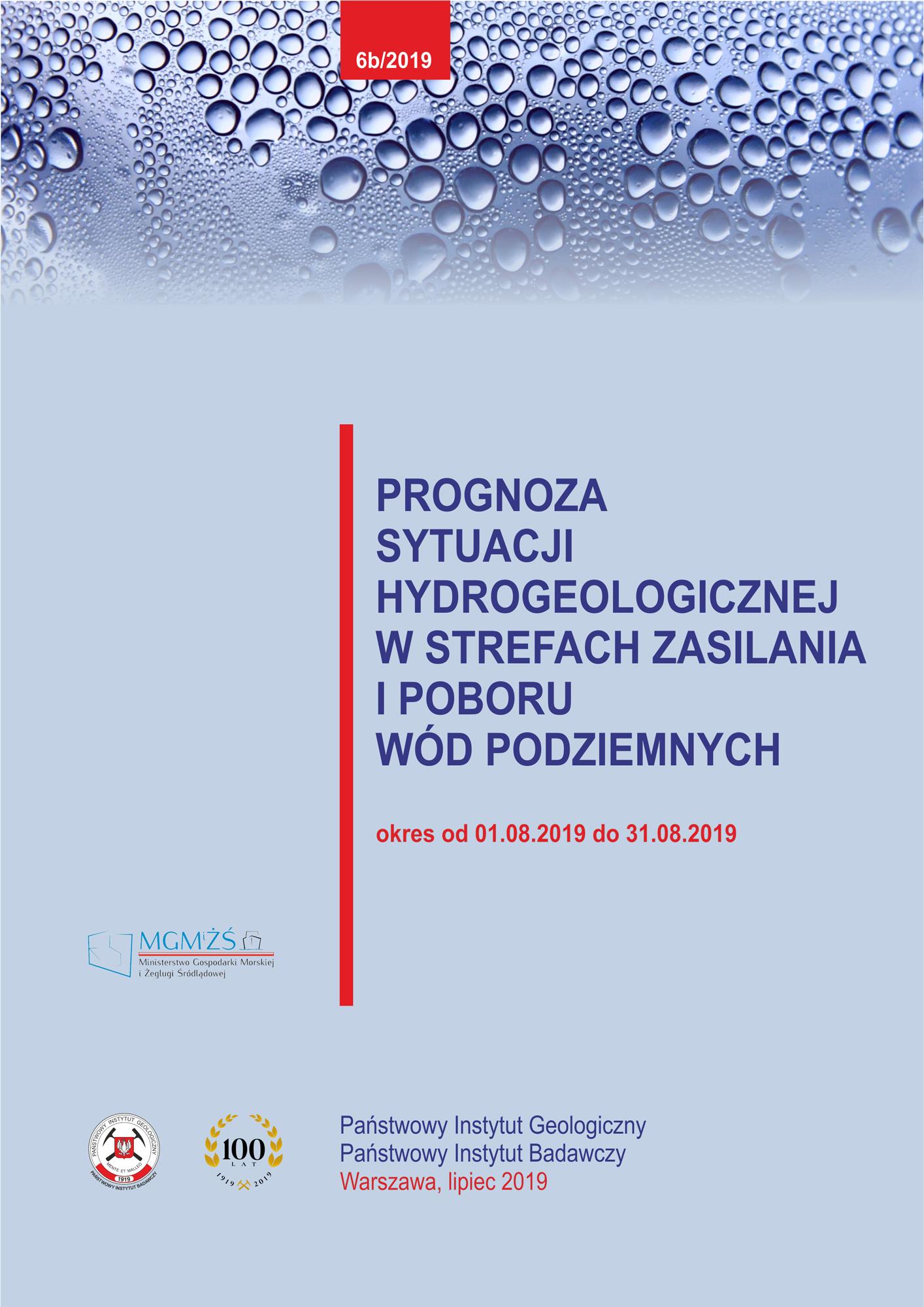 Prognoza sytuacji hydrogeologicznej w strefach zasilania i poboru wód podziemnych 01.08.2019 - 31.08.2019